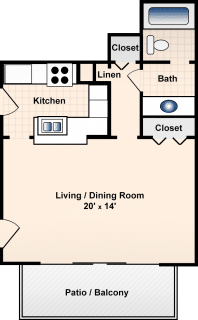 Studio / 1 Bath / 480 ft² / Deposit: $300 / Rent: $613