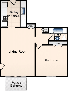 1 Bed / 1 Bath / 653 ft² / Deposit: $199 / Rent: $740