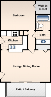 1 Bed / 1 Bath / 680 ft² / Deposit: $300 / Rent: $713