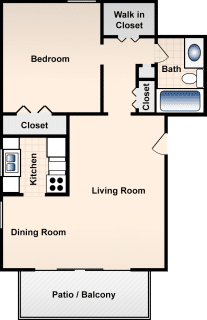 1 Bed / 1 Bath / 704 ft² / Deposit: $300 / Rent: $713