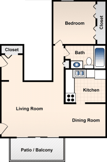 1 Bed / 1 Bath / 758 ft² / Deposit: $300 / Rent: $698