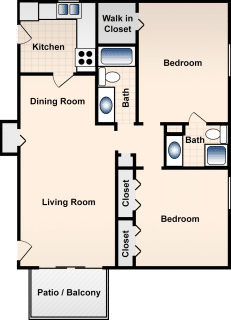 2 Bed / 2 Bath / 950 ft² / Deposit: $300 / Rent: $840